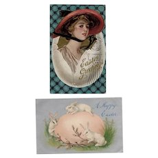 Two (2) Vintage Easter Postcards - Bunnies and Glamour Girl - Early 1900's