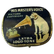 Vintage His Master's Voice Phonograph Needle Tin with the Nipper Logo - Empty
