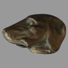 Vintage Celluloid Tape Measure - Figural Dog Head that Looks Metallic