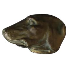 Vintage Celluloid Tape Measure - Figural Dog Head that Looks Metallic