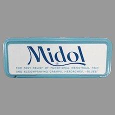 Vintage Midol for Menstrual Disorders Medicine Tin - Fun Bathroom Advertising Item