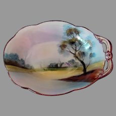 Vintage Hand Painted Noritake - Small Dish with Single Handle and Quaint Scene