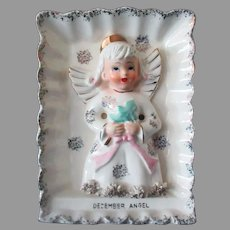 Vintage Ries Porcelain December Birthday Angel  with Christmas Tree Wall Plaque