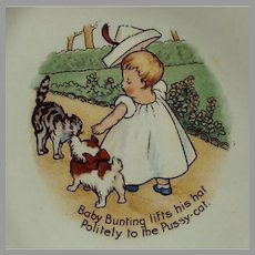 Vintage Baby Bunting Nursery Rhyme with Pussy Cat - Homer Laughlin Baby Dish
