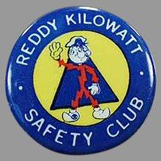 Vintage Reddy Kilowatt Safety Club - Old Advertising Pinback