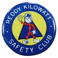 Vintage Reddy Kilowatt Safety Club - Old Advertising Pinback