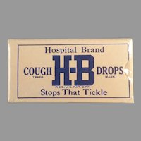Unopened Vintage H-B Hospital Brand Cough Drop Sample Box