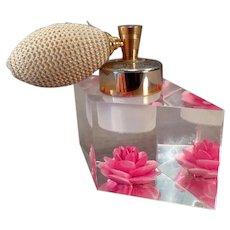 Vintage Evans Lucite Perfume Atomizer with Brilliant Pink Flower Inside