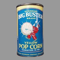 Vintage Unopened Popcorn Tin - Big Buster Pop Corn Tin - Albert Dickson Company