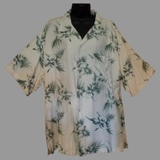 Vintage Hawaiian Style Knightbridge Casual Shirt with Orchid Flower Design - Size Large