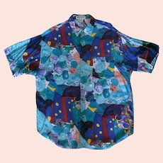 Colorful Vintage Unionbay Casual Shirt Made in India – Size Large