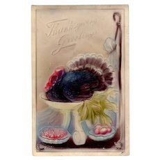 Vintage 1911 German Thanksgiving Postcard with an Embossed Turkey on a Platter
