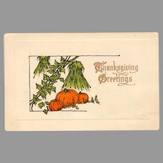 Vintage 1913 Thanksgiving Postcard with Fall Pumpkin Harvest Scene