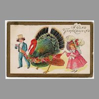 Vintage 1910 Thanksgiving Postcard - Big Turkey and Young By & Girl