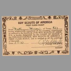 Vintage Boy Scouts of America - First Class Scout Card 1933 Chicago Council