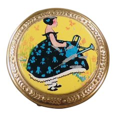 Small Vintage Compact - Colorful Lid with Little Girl with Watering Can