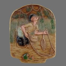 Vintage Chalk Wall Hanging - Humourous Fly-Fishing Fisherman - Gift for Dad