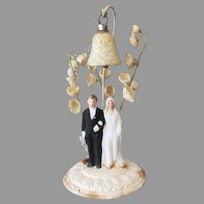 Tiny Vintage Wedding Cake Topper with Bride & Groom Under Coralene Venetian Dew Bell