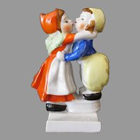 Vintage Ceramic Toothbrush Holder with Boy and Girl Kissing