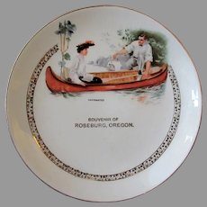 Vintage Roseburg, Oregon Souvenir Plate with Canoe Scene,  Early 1900's, Dresden China