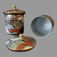 Vintage Japanese Kutani Wedding Set - Two Lidded Cups - Calligraphy Inside