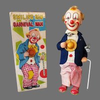 Vintage Wind Up Smiling Sam the Carnival Man Clown Toy with Partial Box