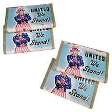 Vintage Matchbooks - 4 United We Stand Uncle Sam Book Matches