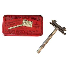 Vintage Burham Safety Razor with its Original Razor Tin - Colorful Advertising Tin