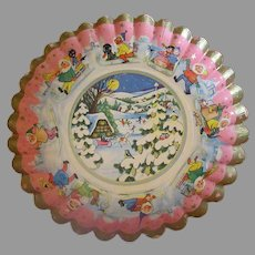 Vintage Christmas Bowl - Paper with Fluted Edge – 1930's German - Cute Graphics