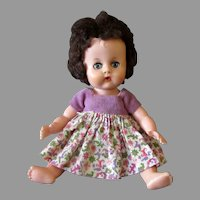 """Vintage 8"""" Baby Doll with Rooted Hair, Sleep Eyes, Drinks, Wets"""