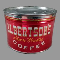Vintage 1# Albertson's Key Wind Coffee Tin - Nice Bright Advertising Tin