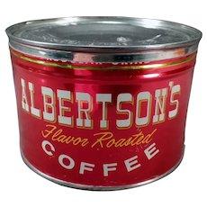 Vintage 1# Albertson's Key Wind Coffee Tin - Nice Bright Advertising Tin