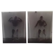 Vintage Glass Plate Negatives with Boise Wrestler Tony Catalano plus a Newspaper Clipping