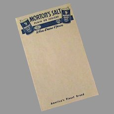 Vintage Morton Salt Advertising Notepad with Slogan