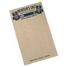 Vintage Morton Salt Advertising Notepad with Slogan