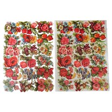 Two Vintage German EAS Floral Scrap Sheets for Scrapbooking and Decoupage