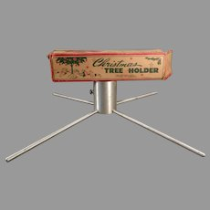 Small 1950's Aluminum Christmas Tree Stand with Box, Probably for a Vintage Feather Tree