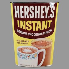 Vintage Hershey Instant Cocoa Tin - Colorful Hot Chocolate Advertising Tin