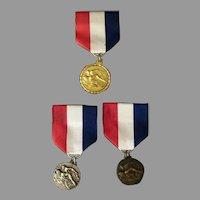 Three Vintage Swimming Sports Medals on Ribbon – Goldtone, Silvertone & Bronzetone