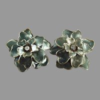 Fanciful Vintage Costume Jewelry Clip Earrings - Large Gray Flowers with Rhinestones