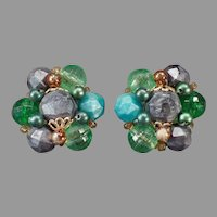 Vintage 1950's German Costume Jewelry Clip-on Earrings with Green and Gray Beads