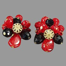 Vintage West Germany Costume Jewelry Clip Earrings with Red and Black Glass Beads
