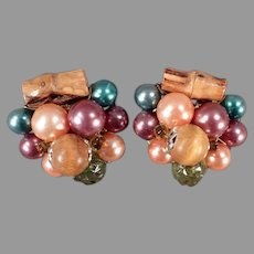 Vintage Costume Jewelry Clip On Earrings - Warm Autumn Colored Beads and Bamboo