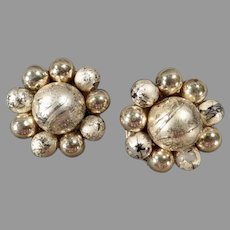 Vintage Gold Tone Bead Costume Jewelry Earrings - 1950's Japan Clip-Ons