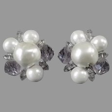 Vintage Laguna Costume Jewelry Earrings - Faux Pearl, Beaded Cluster Clip-Ons