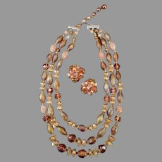 Vintage Triple Strand Bead Necklace and Earring Set – Warm Autumn Colors Costume Jewelry