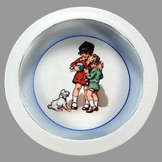 Vintage Baby Plate Feeding Dish with Children and Little Dog - Bavaria Germany
