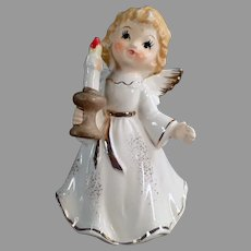 Vintage Porcelain Christmas Angel, Dressed in White Holding a Holiday Candlestick