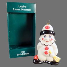 Vintage 1983 Goebel Christmas Tree Ornament - Clown Figure with Original Box