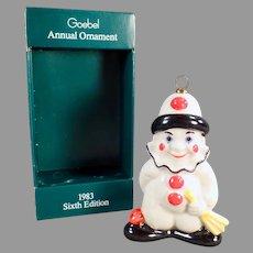 Vintage 1983 Goebel Christmas Tree Ornament - Clown Figure with Original Box